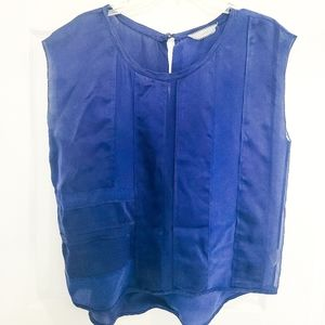 Cluny Cobalt Blue Silk Sleeveless Top